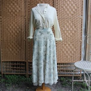 VINTAGE 90s EXPRESS Silver White Floral Maxi Skirt